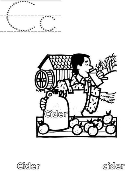 apple cider coloring pages a to z kids stuff letter cc color page