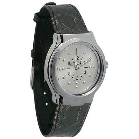maxiaids mens chrome quartz braille with leather band