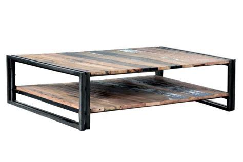 table a manger bois metal 926 vente table basse bois recycl 233 rectangulaire 233 quip 233 e de 2