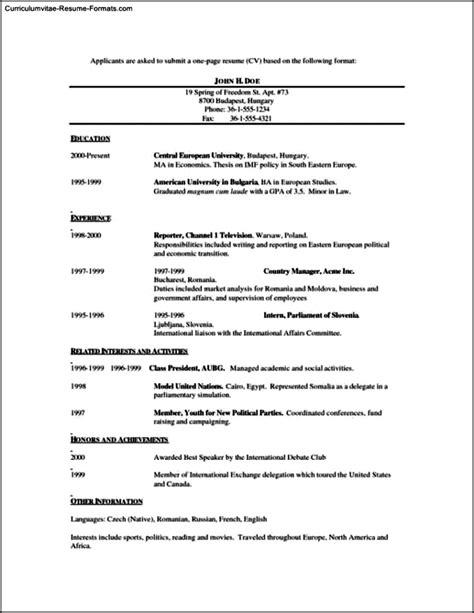 Single Page Resume Template by Single Page Resume Template Free Sles Exles