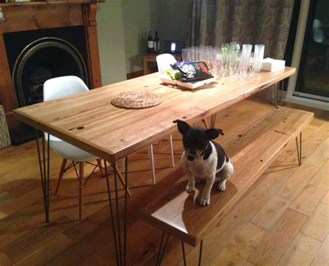 diy dining table hairpin legs oak dining table reclaimed timber hairpin legs by