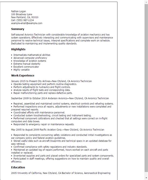 Avionics Test Engineer Sle Resume by Professional Avionics Technician Templates To Showcase Your Talent Myperfectresume