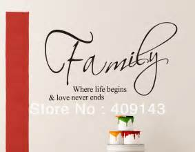 family where begins small wall stickers quotes