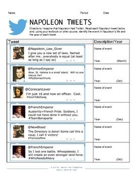 collection of napoleon bonaparte worksheets bluegreenish napoleon tweets classroom activity by bell book and camera