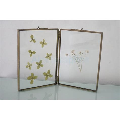 brass and glass l double sided glass metal photo picture frame freestanding