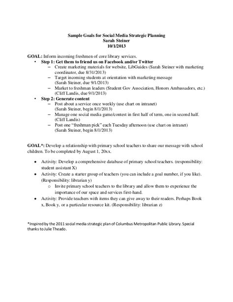 library strategic plan template sle goals for social media strategic planning