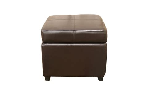 Pandora Brown Leather Small Storage Ottoman With Wood Feet Brown Leather Ottoman Storage