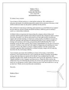 Power Plant Mechanic Cover Letter by Wind Technician Cover Letter