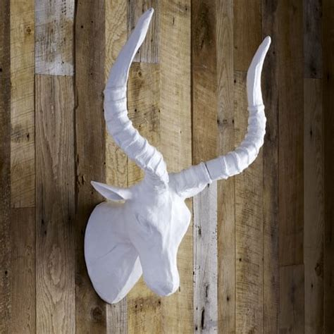 How To Make Paper Mache Animal Heads - papier mache animal sculpture impala west elm
