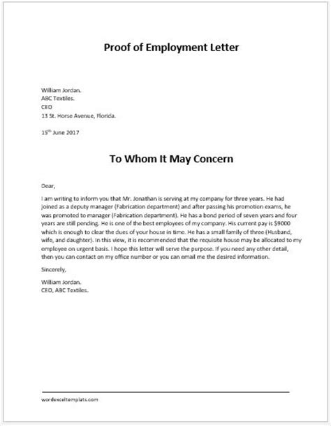 Proof Of Employment Letter For New Proof Of Employment Letter For Word Word Excel Templates