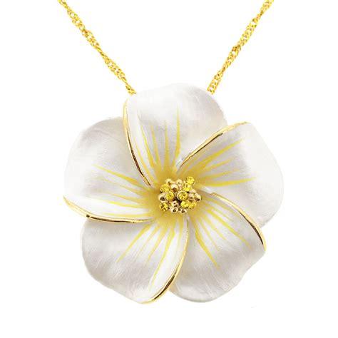 white hawaiian plumeria swarovski flower brooch