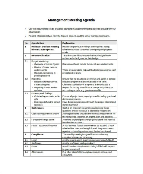 management meeting agenda 54 meeting agenda exles