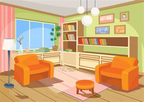 living room cartoon vector illustration of a cartoon interior of an orange