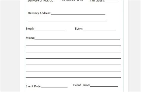 catering order form template free event menu template items similar to printable wedding