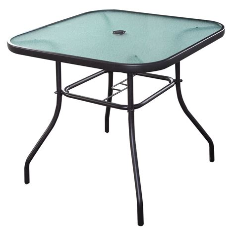 "32 1/2"" Patio Square Bar Dining Table Glass Deck Garden"