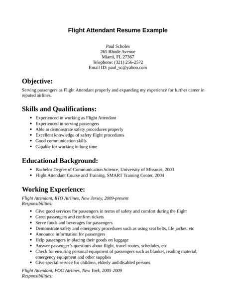 Cover Page Example For Resume by Simple Flight Attendant Resume Template