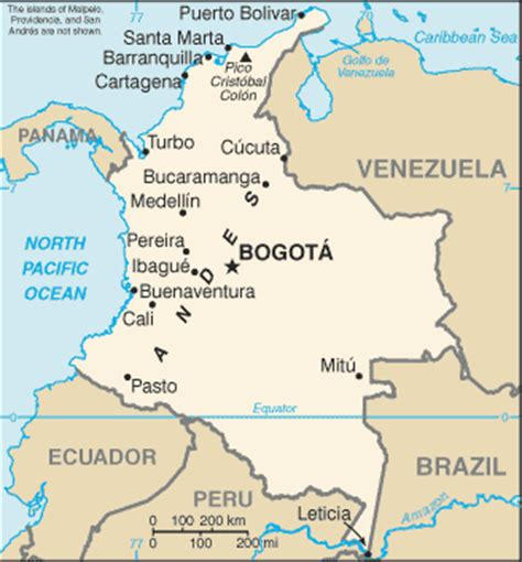 south america map bogota map of colombia