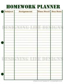 Weekly Homework Template homework planner schedule and weekly homework sheet