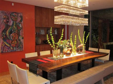 red eclectic dining room  modern chandelier hgtv