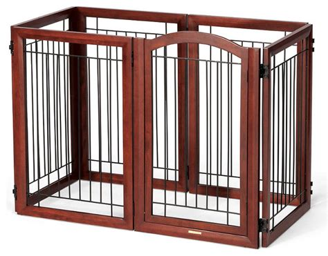 frontgate gate six panel mahogany finished hardwood pet gate and crate gate traditional pet
