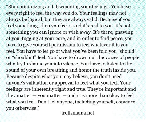 testo nothing the script stop minimizing and discounting your feelings get