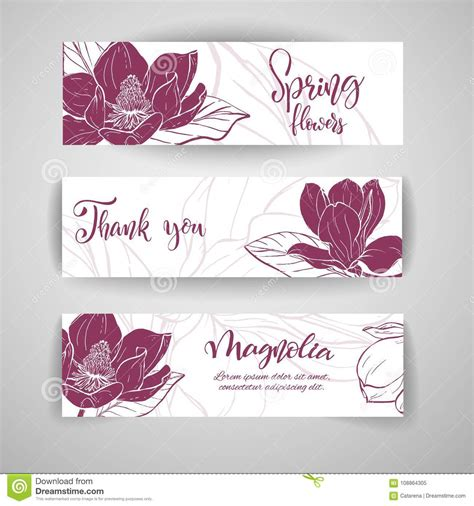 Folded Greeting Card Template Sketch by Sketch Linear Magnolia Blossom Stock Vector