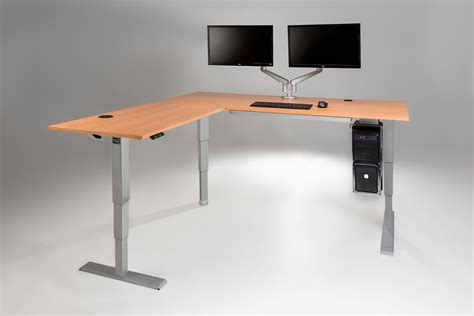 electric adjustable standing desk the multitable electric l shaped standing desk multitable