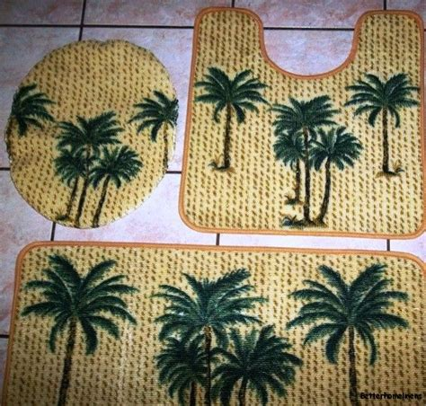 Palm Tree Bathroom Rugs 3pc Green Palm Tree Bathroom Set Bath Contour Rug Toilet Lid Cover Mat Carpet What S It Worth