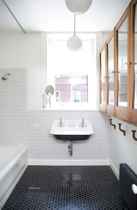 bathroom with black and white tile floor 35 vintage black and white bathroom tile ideas and pictures