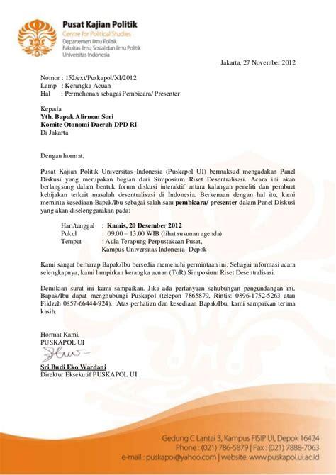 undangan pembicara hari kedua panel diskusi desentralisasi