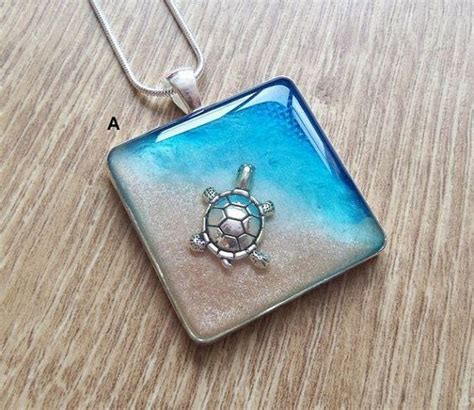 Handmade Resin Jewellery - turtle necklace silver turtle resin blue sea