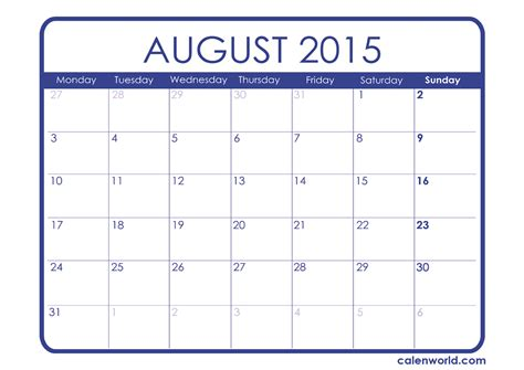 August Printable Calendar 2015 2015 Monthly Calendars Calendars