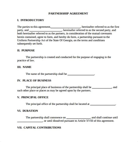 16 Partnership Agreement Templates Sle Templates Llp Partnership Agreement Template