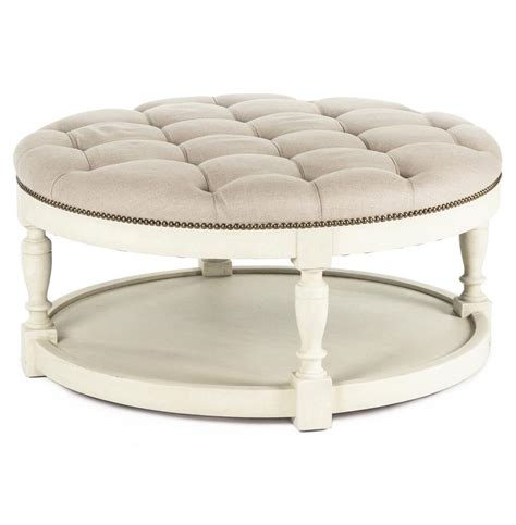 Marseille French Country Cream Ivory Linen Round Tufted Ottoman For Coffee Table