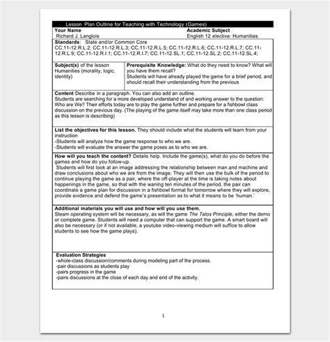 Lesson Plan Outlines For Teachers by Lesson Plan Outline Template 23 Exles Formats And Sles