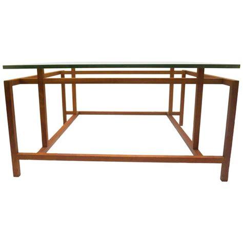 1950s modern geometric teak and glass coffee table