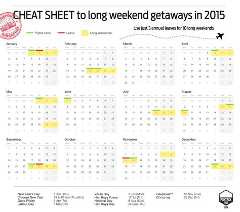 new year 2015 singapore calendar sg guide to weekend getaways in 2015 pohtecktoes