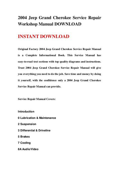 2004 jeep grand service repair workshop manual