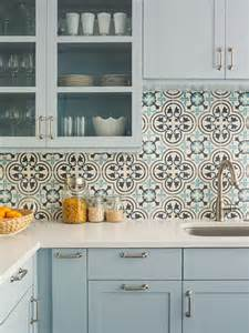 light blue kitchen with cluny cement tile backsplash