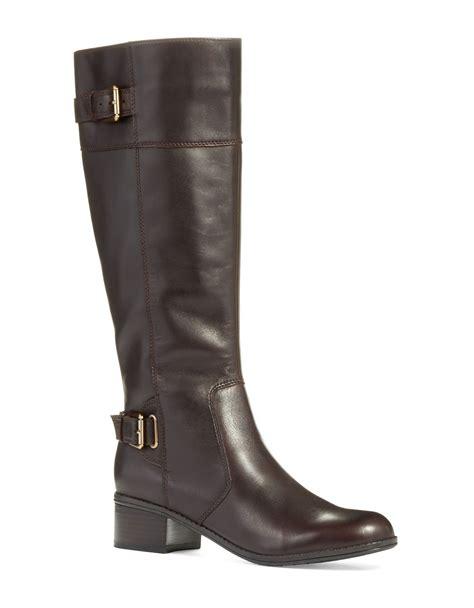 bandolino boots lyst bandolino castin boots wide calf in brown