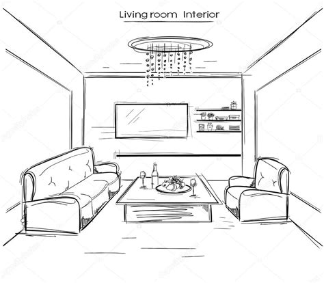 disegno interno casa interno salone disegno della mano nera di vettore