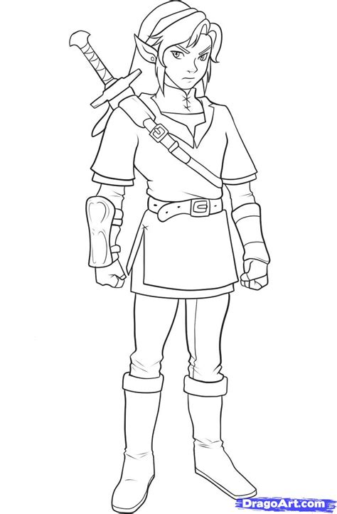 coloring book page drawing step 11 how to draw link from zelda zelda pinterest