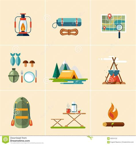 flat design icon vector cing and hiking icons flat design stock vector image