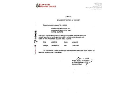 bank certification letter bpi duterte bares 2014 bank account balance headlines news