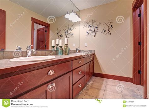 red bathroom cabinets simple bathroom with red wood cabinets stock photo image 57714834