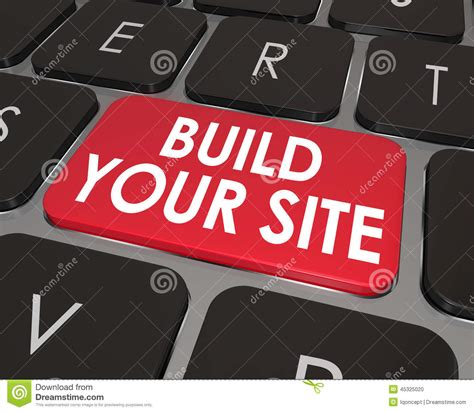 build your online build your web site computer keyboard button key stock