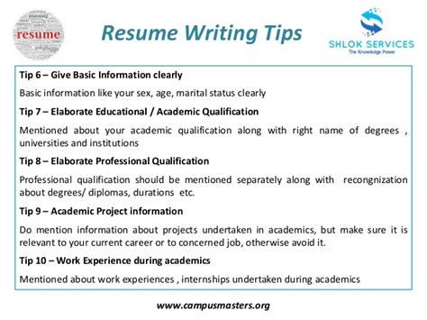 tips to write resume resume writing tips