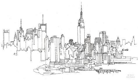 Sketches Nyc by City Skyline Sketch Search