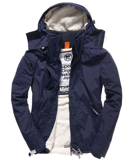 Jaket Windcheater City 1 mens sherpa windcheater in nautical navy superdry