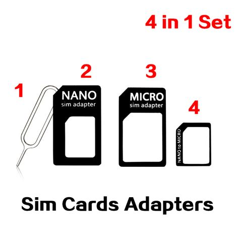 Sim Card Adapter 4 In 1 Nano Micro 3 Pin Clip Kartu 10pcs lot 4 in 1 set nano sim card micro sim card adapter to standard converter set for iphone 6